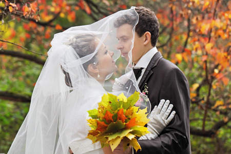 The newly wedded walk in the autumn park