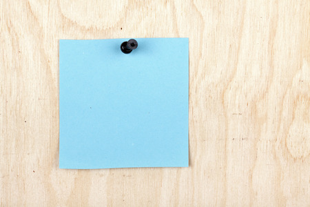 drawingpin: The blue note is pinned by the drawing-pin to a plywood board