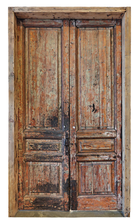 miry: Old dirty brown wooden door, isolated on white background Stock Photo