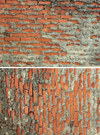 inaccurate: Inaccurate, rough wall from a red brick. Two shots, horizontal and vertical Stock Photo
