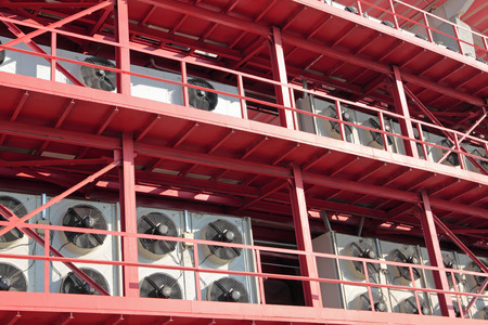 A large system of the central air-conditioning on the facade of industrial buildings photo