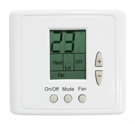 room air: Wall-mounted control panel room, air-conditioning, isolated on white background