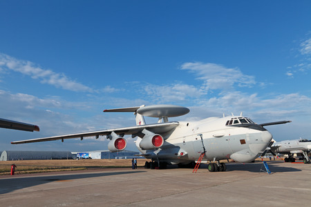 ZHUKOVSKY, RUSSIA - AUG 11: The opening ceremony of celebrating of the 100 anniversary of Russian air force. August, 11, 2012 at Zhukovsky, Russia. The Beriev A-50 (Mainstay) is a Soviet-built airborne warning and control system (AWACS)
