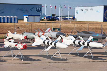 ZHUKOVSKY, RUSSIA - AUG 11: The opening ceremony of celebrating of the 100 anniversary of Russian air force. August, 11, 2012 at Zhukovsky, Russia. Models of aviation armament, missiles of various purposes