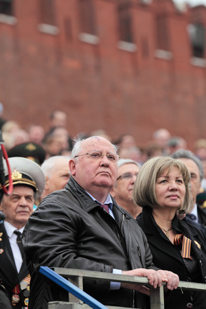 gorbachev: MOSCOW - MAY 09: Celebration of the 67th anniversary of the Victory Day (WWII) on Red Square on May 9, 2011 in Moscow, Russia. The President of the USSR Mikhail Gorbachev on the podium