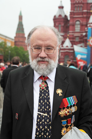 election commission: MOSCOW - MAY 09: Celebration of the 67th anniversary of the Victory Day (WWII) on Red Square on May 9, 2012 in Moscow, Russia. The Chairman of the Central Election Commission of Russia Vladimir Churov on Red Square