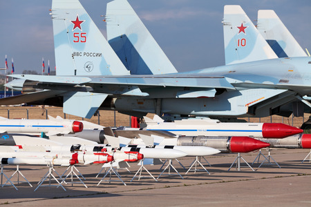 ZHUKOVSKY, RUSSIA - AUG 11: The celebration of the 100 anniversary of Russian air force. August, 11, 2012 at Zhukovsky, Russia. Models of aviation armament, missiles of various purposes