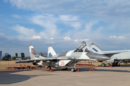 fulcrum: ZHUKOVSKY, RUSSIA - AUG 11: The celebrating of the 100 anniversary of Russian air force. August, 11, 2012 at Zhukovsky, Russia. The Mikoyan MiG-29 (Fulcrum) is a fourth-generation jet fighter aircraft Editorial