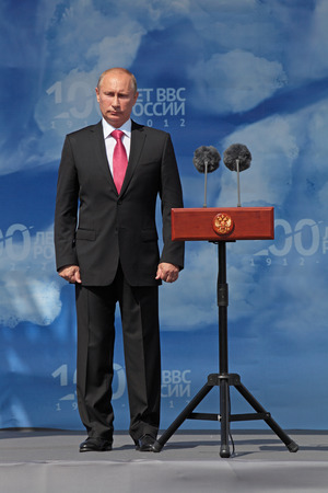 ZHUKOVSKY, RUSSIA - AUG 11  Vladimir Putin, the President of Russia at the opening ceremony of the celebration of 100 years of military air forces of Russia  Aug,11, 2012 at Zhukovsky, Russia
