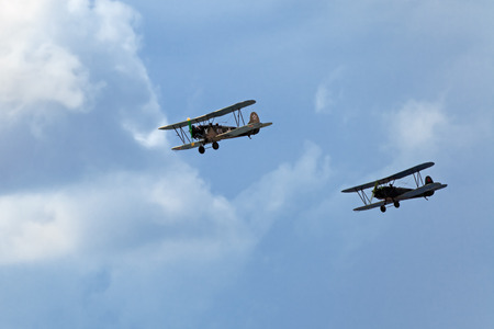 nicknamed: ZHUKOVSKY, RUSSIA - AUG 11: The celebrating of the 100 anniversary of Russian air force. August, 11, 2012 at Zhukovsky, Russia. The Polikarpov Po-2 (also U-2) served as a general-purpose Soviet biplane, nicknamed Kukuruznik Editorial