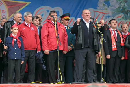 adherents: MOSCOW - MAY 09: Gennady Zyuganov at the meeting of the Communist party of the Russian Federation on Lubyanka Square on May 9, 2012 in Moscow, Russia. Editorial