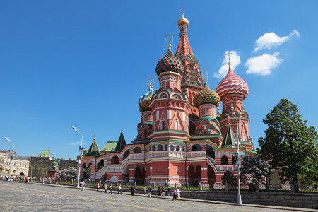 vasily: The Cathedral of the Protection of Most Holy Theotokos on the Moat or Pokrovsky Cathedral - also known as the Cathedral of St. Vasily the Blessed. Red Square, Moscow, Russia