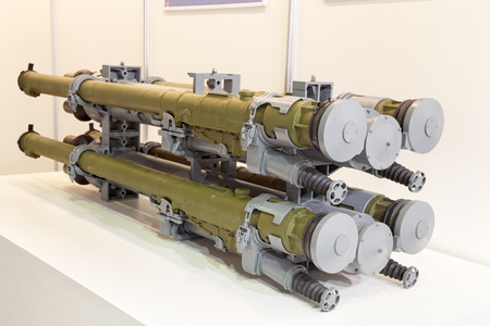 homing: ZHUKOVSKY, RUSSIA - JUN 29: The international salon of arms and military technology Engineering technologies 2012 on Jun 29, 2012 in Zhukovsky. The Russian infrared homing surface-to-air missile (SAM) IGLA-S (SA-24 Grinch) for mounting on a helicopters Editorial