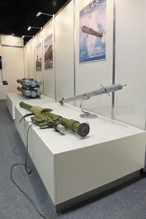 homing: ZHUKOVSKY, RUSSIA - JUN 29: The international salon of arms and military technology Engineering technologies 2012 on Jun 29, 2012 in Zhukovsky. The Russian man-portable infrared homing surface-to-air missile (SAM) IGLA-S (SA-24 Grinch)
