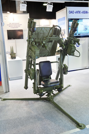 homing: ZHUKOVSKY, RUSSIA - JUN 29: The international salon of arms and military technology Engineering technologies 2012 on Jun 29, 2012 in Zhukovsky. The Russian infrared homing surface-to-air missile. Support-launcher Djigit on the basis of MANPADS of the
