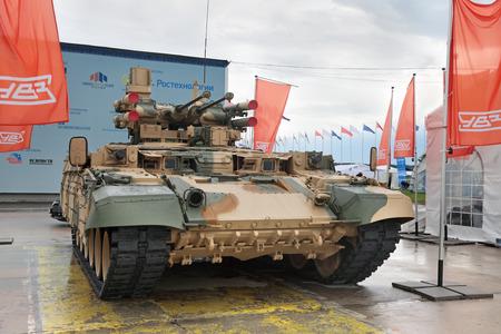 terminator: ZHUKOVSKY, RUSSIA - JUN 29: The international salon of arms and military technology Engineering technologies 2012 on Jun 29, 2012 in Zhukovsky. Tank Support Fighting Vehicle Ramka (nicknamed Terminator)