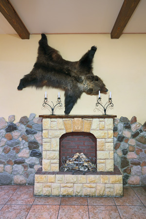 chimney corner: Fragment of the interior of the room with a decorative fireplace and bearskin hanging on the wall