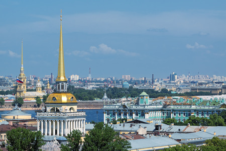 View of the old part of the city of St. Petersburg with the colonnade of St. Isaacs SWAT Stock Photo