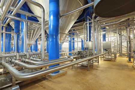 fermentation: Brewing production - fermentation department, the interior of the brewery, nobody