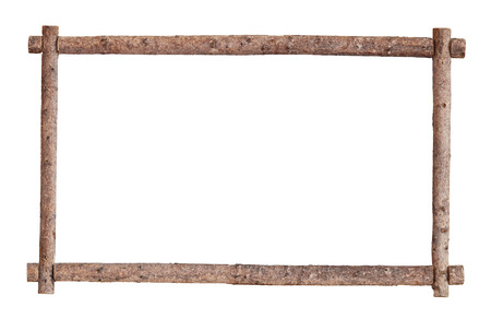 wooden beams: The frame for the picture made from rough pine logs, isolated on white background Stock Photo