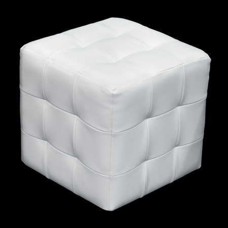 padded: White leather padded stool, isolated on a black background