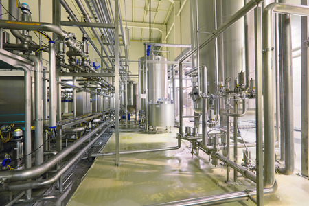 Brewing production - department filtering, the interior of the brewery, nobody Stok Fotoğraf