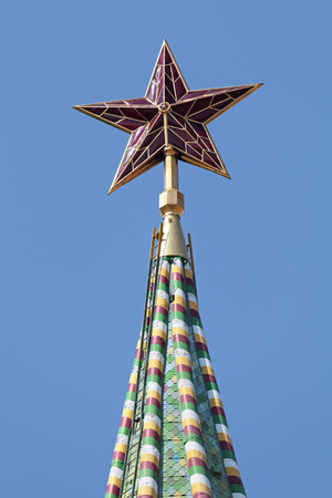 spasskaya: The spire of the Spasskaya tower of the Kremlin with the ruby star