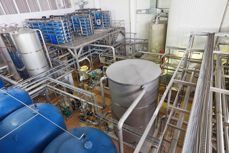 Brewing production - department for preparation of the water, filters Stock Photo