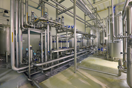 pipework: Brewing production - department filtering, the interior of the brewery, nobody Stock Photo