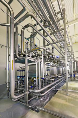Le brassage de la production - filtrage de département, l'intérieur de la brasserie, personne Banque d'images