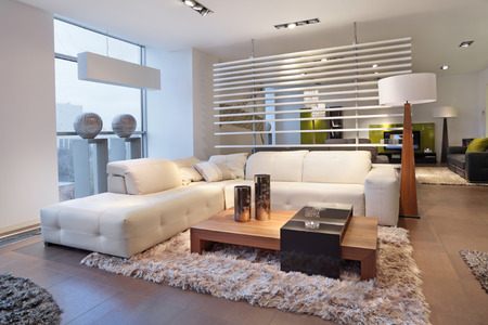 The interior of a modern living room, nobody