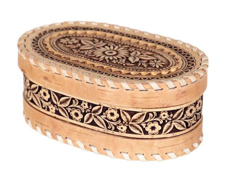 birchbark: Russian souvenir - birch-bark box, isolated on white background