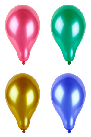 rubbery: Four colored balloon, isolated on white background