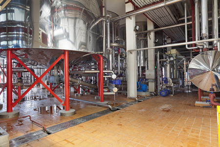 Brewing production - cooking tank, the lower part, the interior of the brewery, nobody photo
