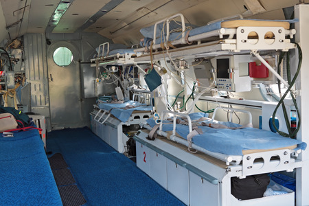 bedstead: Interior of the medical helicopter, indoors Stock Photo