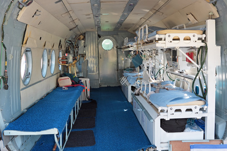 Interior of the medical helicopter, indoors Stock Photo
