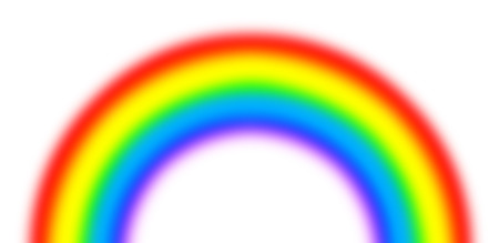 rainbow colours: A semi-circle of the rainbow on a white background