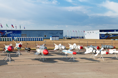 armament: ZHUKOVSKY, RUSSIA - AUG 11: The opening ceremony of celebrating of the 100 anniversary of Russian air force. August, 11, 2012 at Zhukovsky, Russia. Models of aviation armament, missiles of various purposes