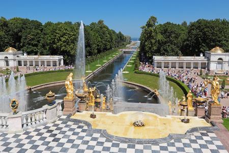 Grand Cascade Fountains at Peterhof Palace garden, St. Petersburg