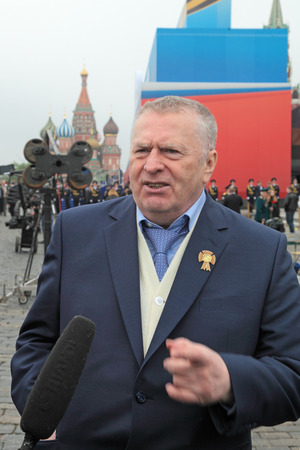 MOSCOW - MAY 09: Celebration of the 67th anniversary of the Victory Day (WWII) on Red Square on May 9, 2012 in Moscow, Russia. The Deputy of the State Duma, founder and Chairman of the liberal democratic party of Russia Vladimir Zhirinovsky on Red Square