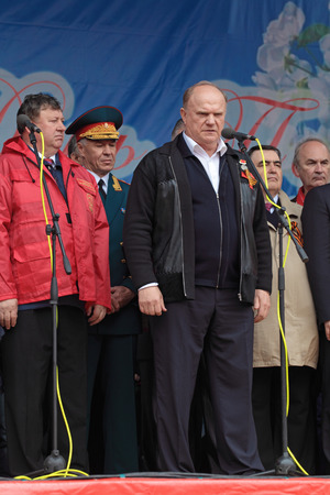 MOSCOW - MAY 09: Gennady Zyuganov at the meeting of the Communist party of the Russian Federation on Lubyanka Square on May 9, 2012 in Moscow, Russia. Éditoriale