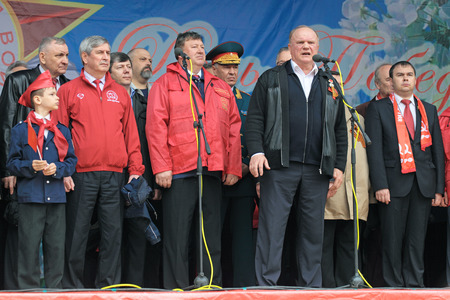 adherents: MOSCOW - MAY 09  Gennady Zyuganov at the meeting of the Communist party of the Russian Federation on Lubyanka Square on May 9, 2012 in Moscow, Russia  Editorial