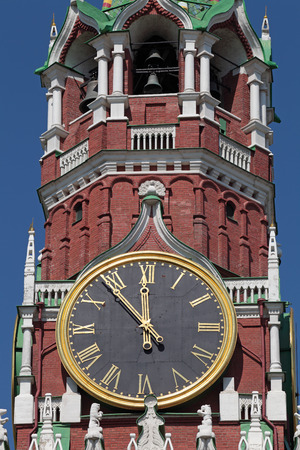 Chimes and bells of Spasskaya tower of the Kremlin in Moscow photo