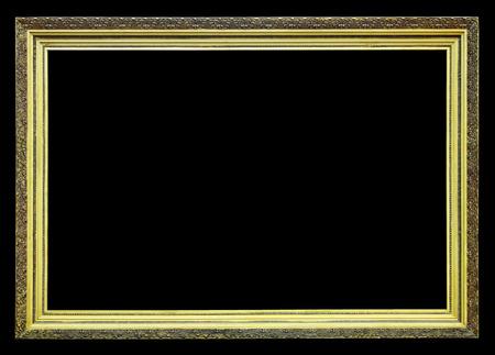 Old gilt wood frame on a black background Stock Photo