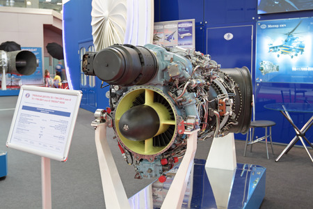 aeroengine: MOSCOW - MAY 21: 4-th International exhibition of helicopter industry HeliRussia-2011 on May 21, 2011 in Moscow, Russia. Exhibit - engine helicopter