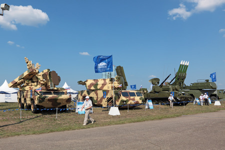 armaments: ZHUKOVSKY, RUSSIA - AUG 16: Samples of arms at the International Aviation and Space salon MAKS. Aug, 16, 2011 at Zhukovsky, Russia Editorial