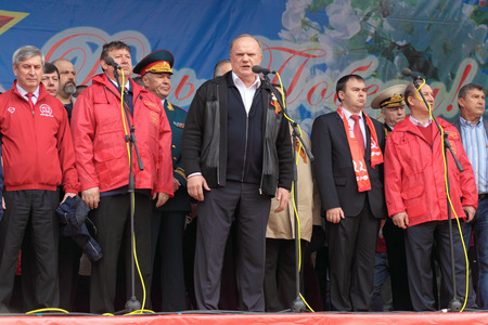 legislator: MOSCOW - MAY 09: Gennady Zyuganov at the meeting of the Communist party of the Russian Federation on Lubyanka Square on May 9, 2012 in Moscow, Russia. Editorial