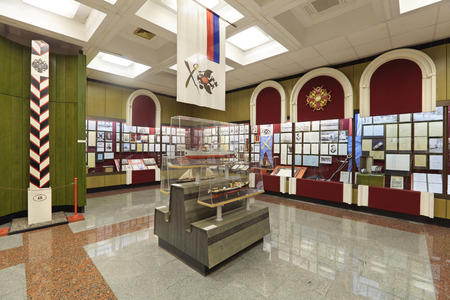 federal hall: MOSCOW, RUSSIA - JUN 22, 2012: Central Museum of the border troops, the interior and exhibits, nobody