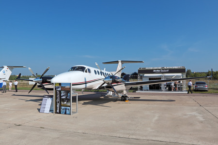 ZHUKOVSKY, RUSSIA - AUG 16: The Beechcraft King Air 350i is twin-turboprop aircraft produced by the Beech Aircraft Corporation (USA) at the International Aviation and Space salon (MAKS) on August 16, 2011 in Zhukovsky, Russia