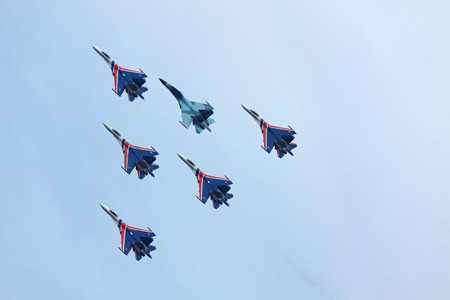 ZHUKOVSKY, RUSSIA - AUGUST 19: Aerobatic team Russian Knights at the International Aviation and Space salon (MAKS) on August 19, 2011 in Zhukovsky, Russia